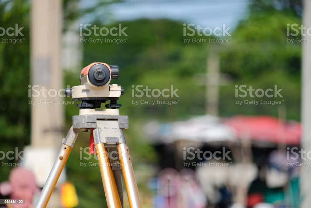 Surveyor equipment tacheometer or theodolite stock photo