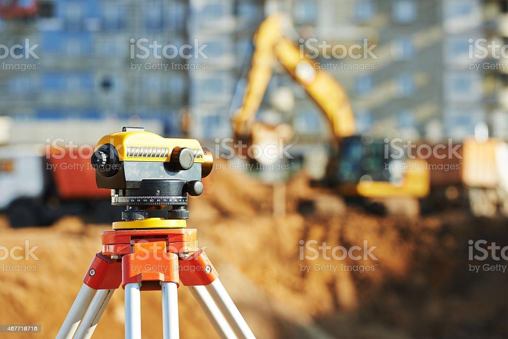 surveyor equipment theodolie outdoors stock photo