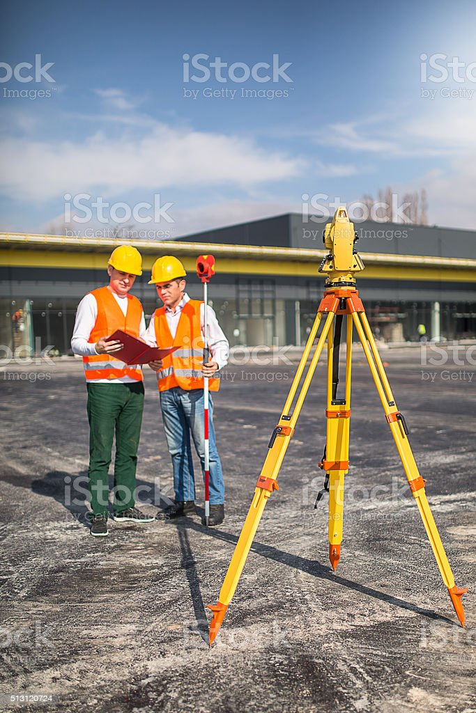 Surveyors at work stock photo