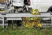Survival foil seen at a car crash scene