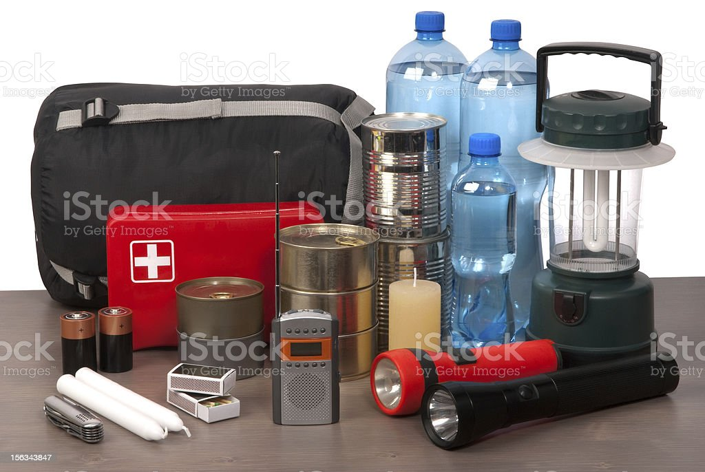 Survival kit on a table stock photo