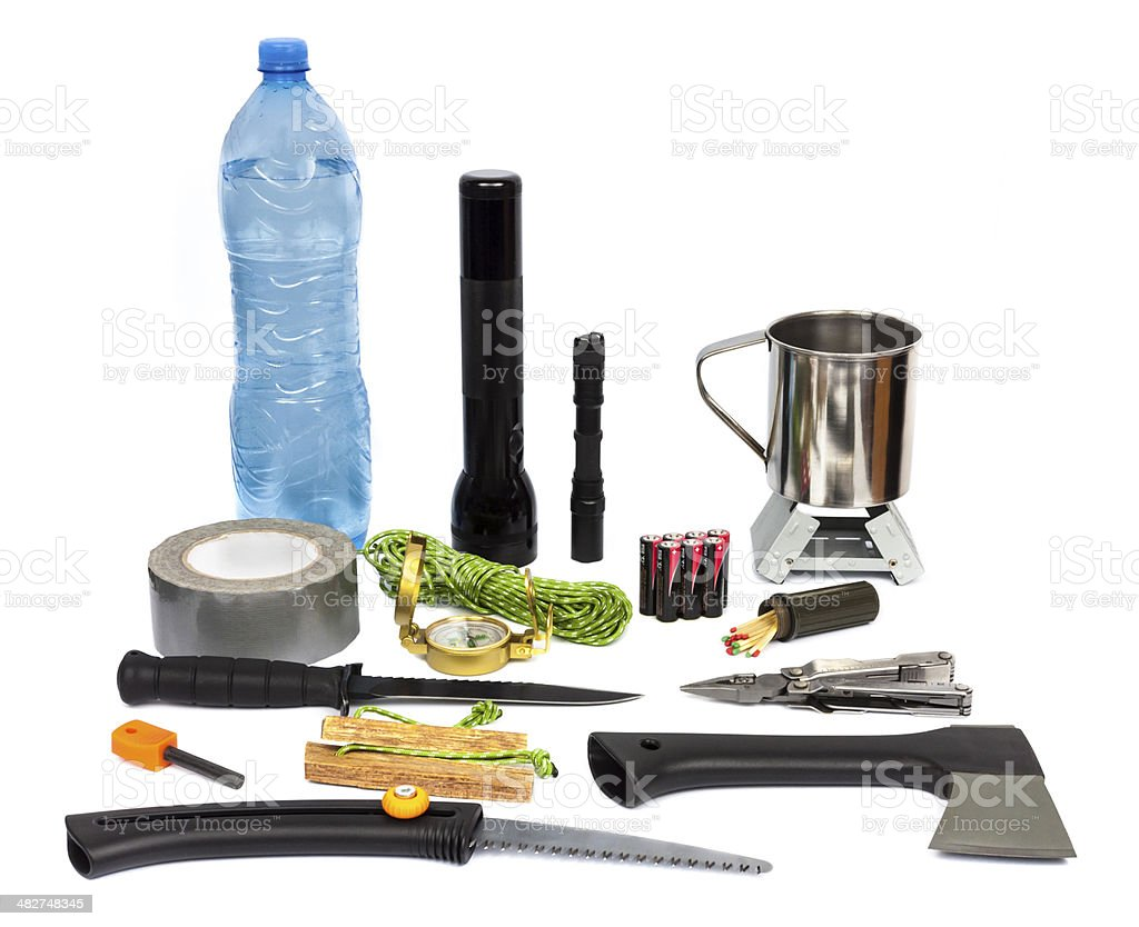 Survival kit with emergency supplies stock photo