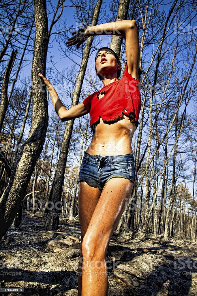 Surviving the woods fire royalty-free stock photo