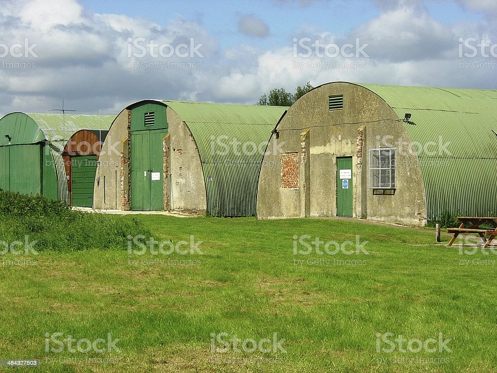 Surviving WW2 Quonset Huts on Keevil Airfield, Wiltshire stock photo