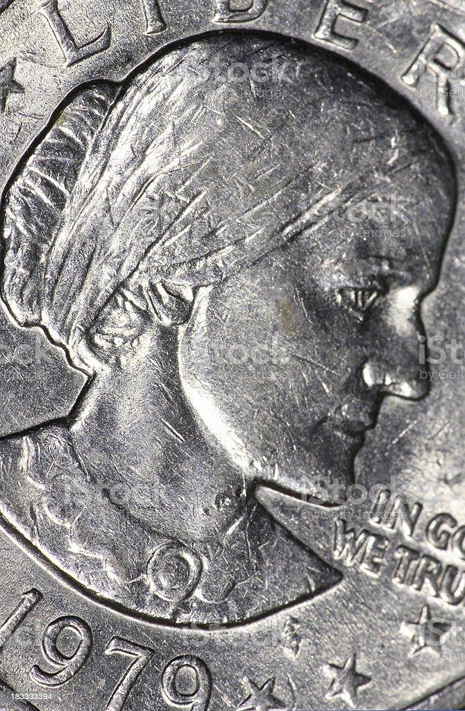 Susan B Anthony dollar detail magnified stock photo