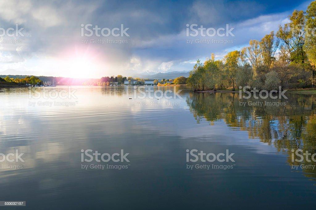 Suset on Ticino riverbanks, Lake Maggiore. Color image stock photo