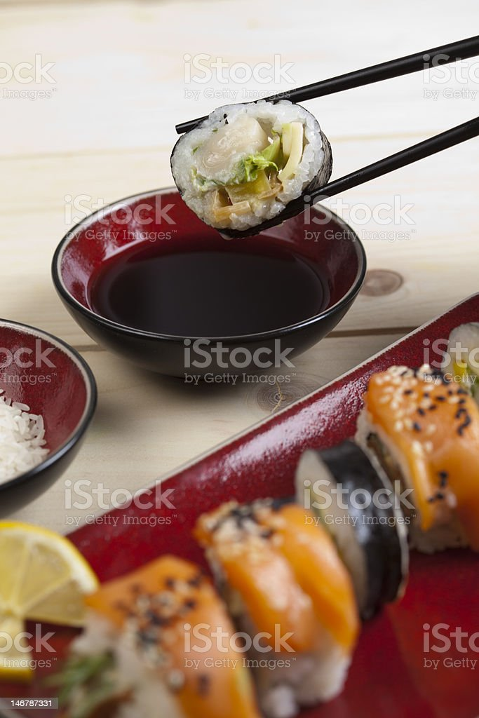 Sushi and chopsticks royalty-free stock photo
