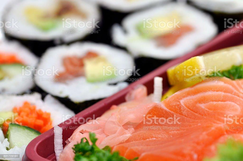 Sushi and raw Salmon fresh Sashimi stock photo