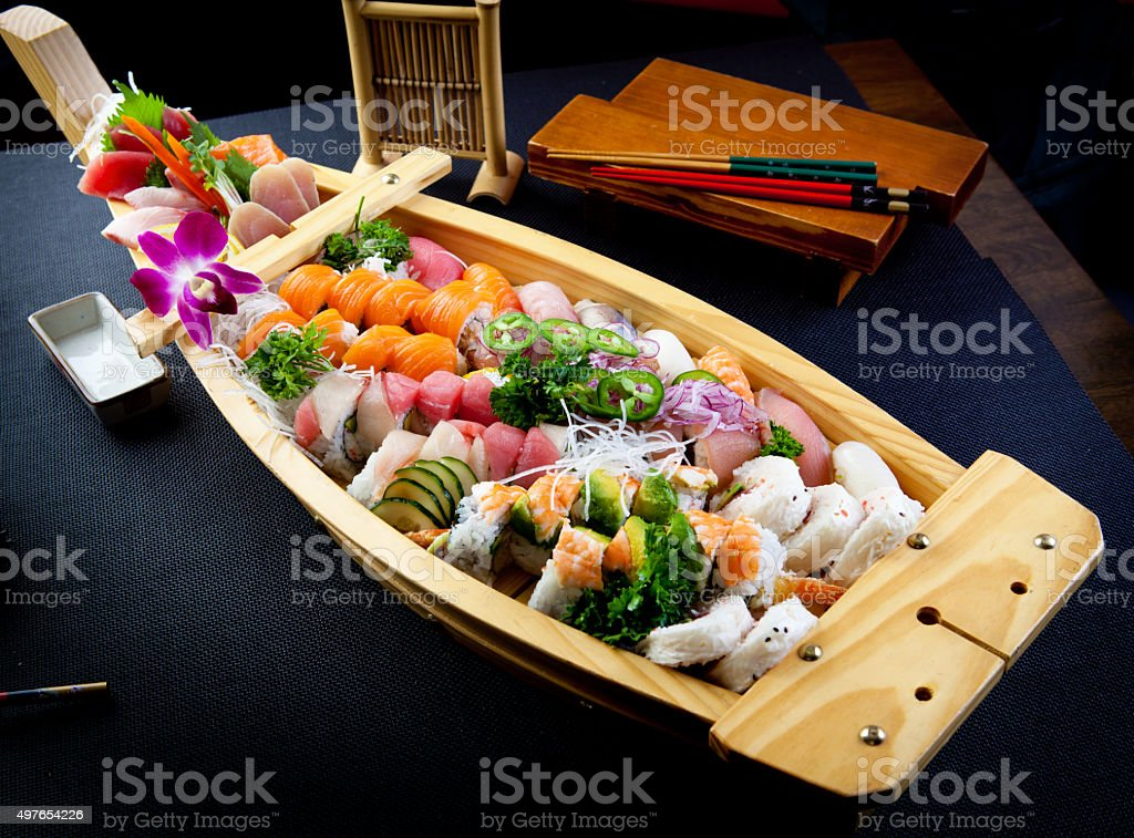 Sushi and Roll Boat stock photo