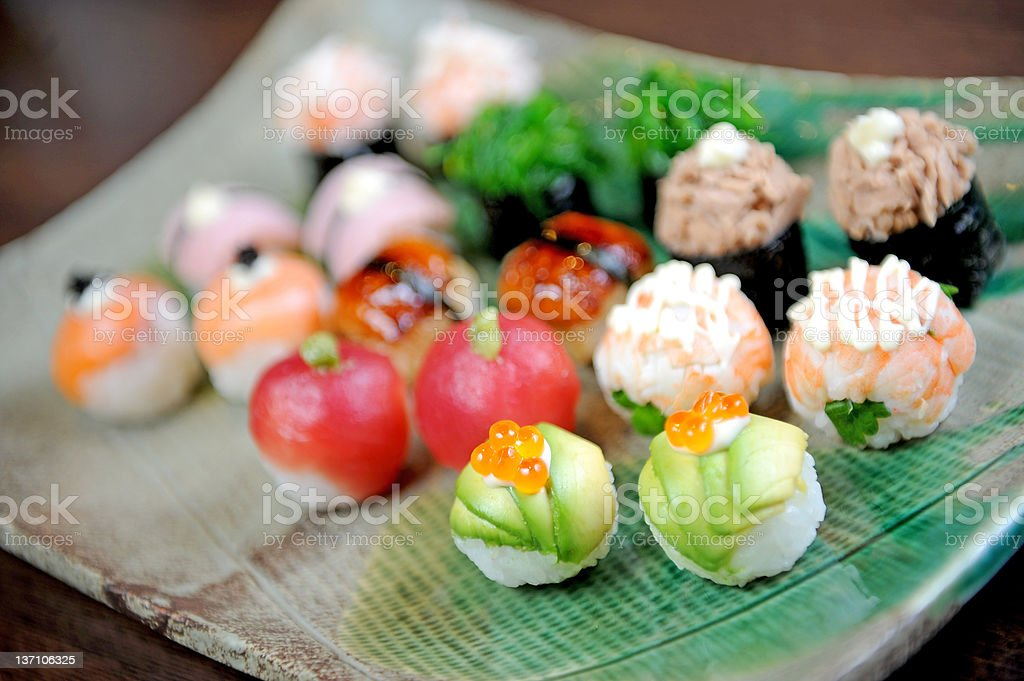 Sushi and Rolls closeup royalty-free stock photo