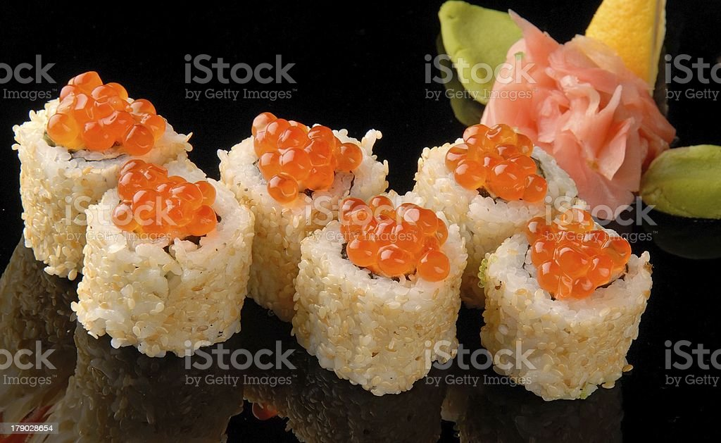 Sushi and rolls. royalty-free stock photo