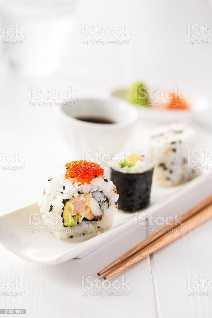 Sushi and sake stock photo