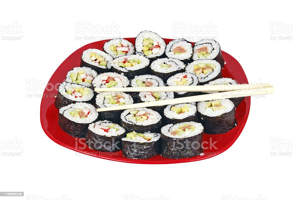 Sushi and stick royalty-free stock photo