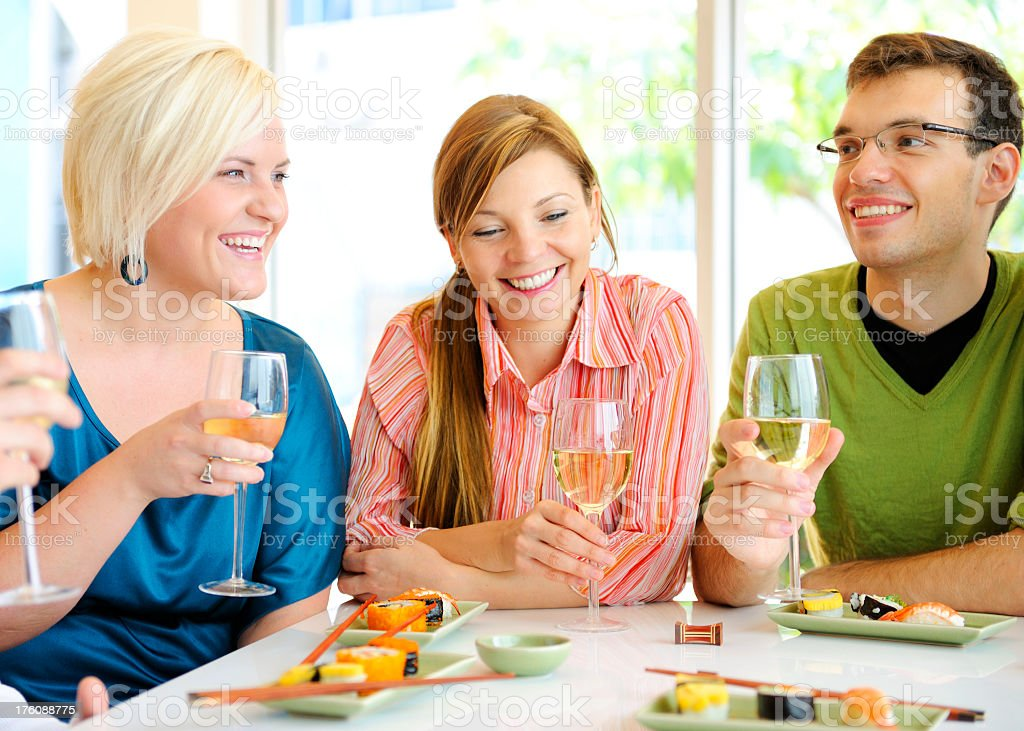 Sushi and Wine royalty-free stock photo