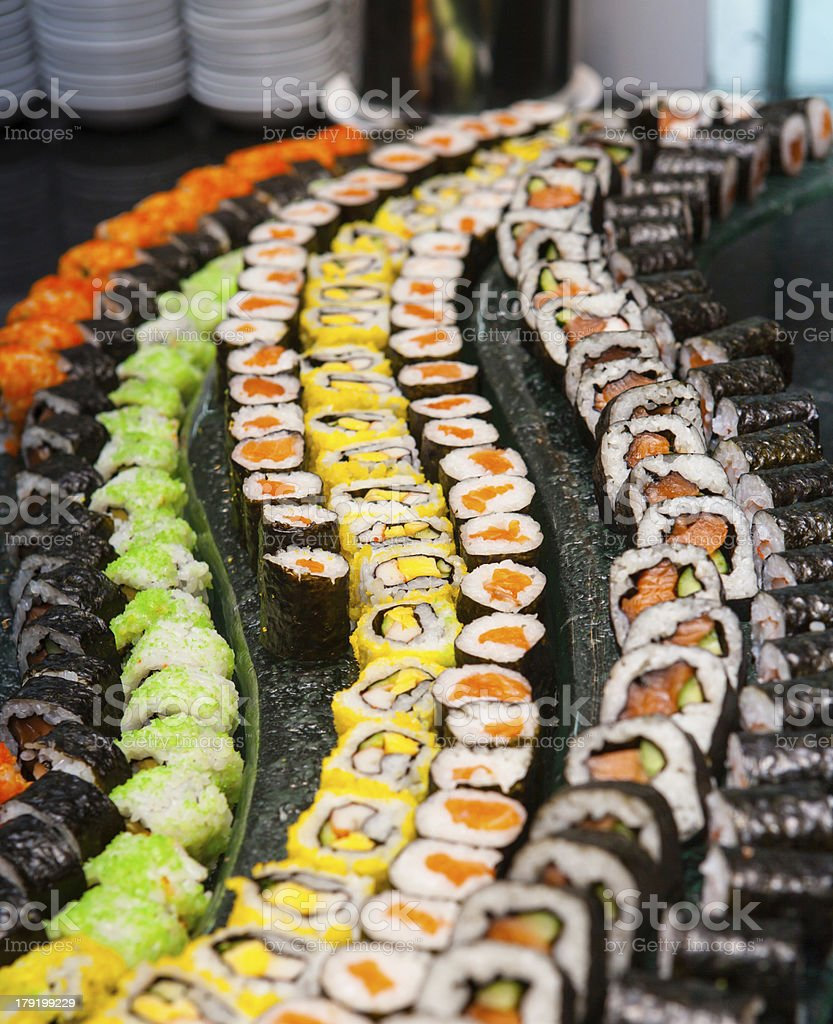 Sushi are arranged on the plate royalty-free stock photo