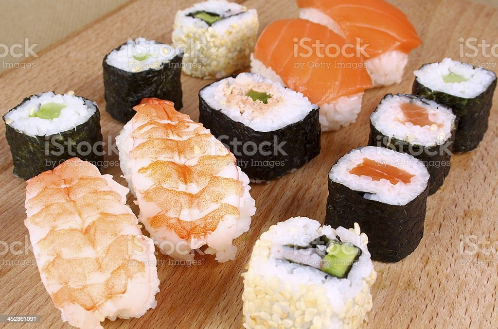 Sushi assortment of shrimp, salmon fillet royalty-free stock photo