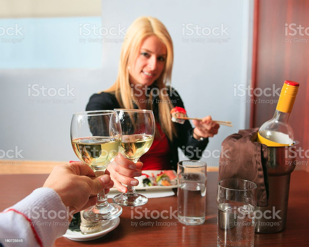 Sushi Bar - First Person Focus Wine royalty-free stock photo
