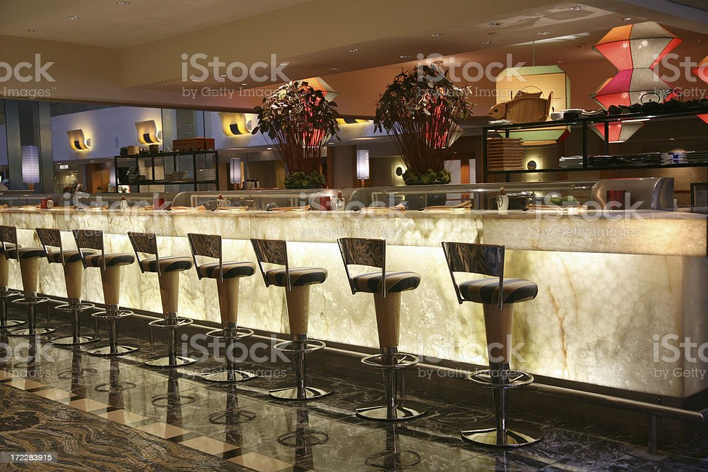 Sushi Bar In Hotel Lounge stock photo