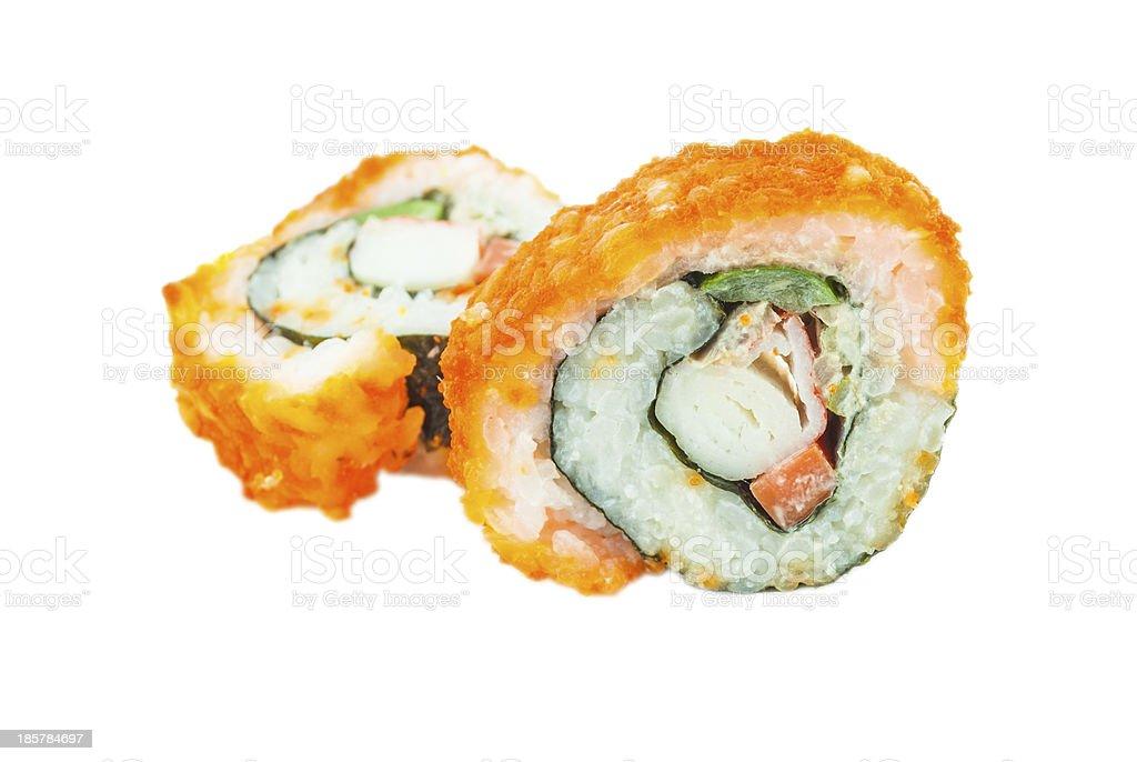 Sushi. California roll closeup isolated on white background royalty-free stock photo