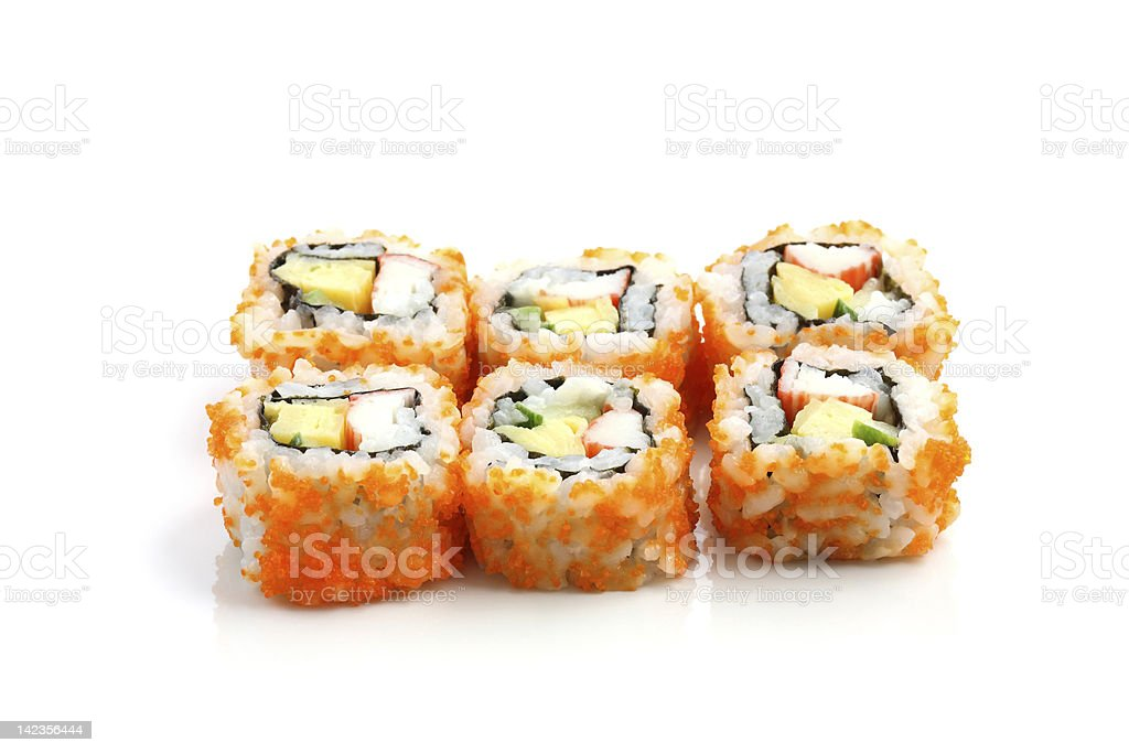 Sushi California Roll on dish isolated in white background stock photo