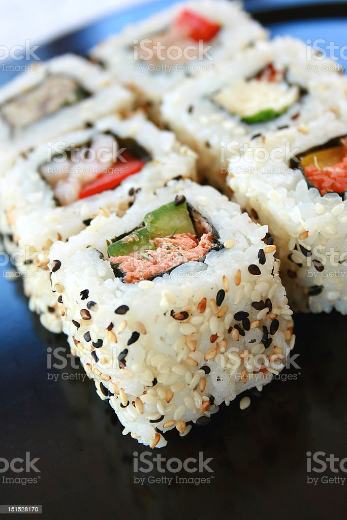 Sushi California Rolls stock photo
