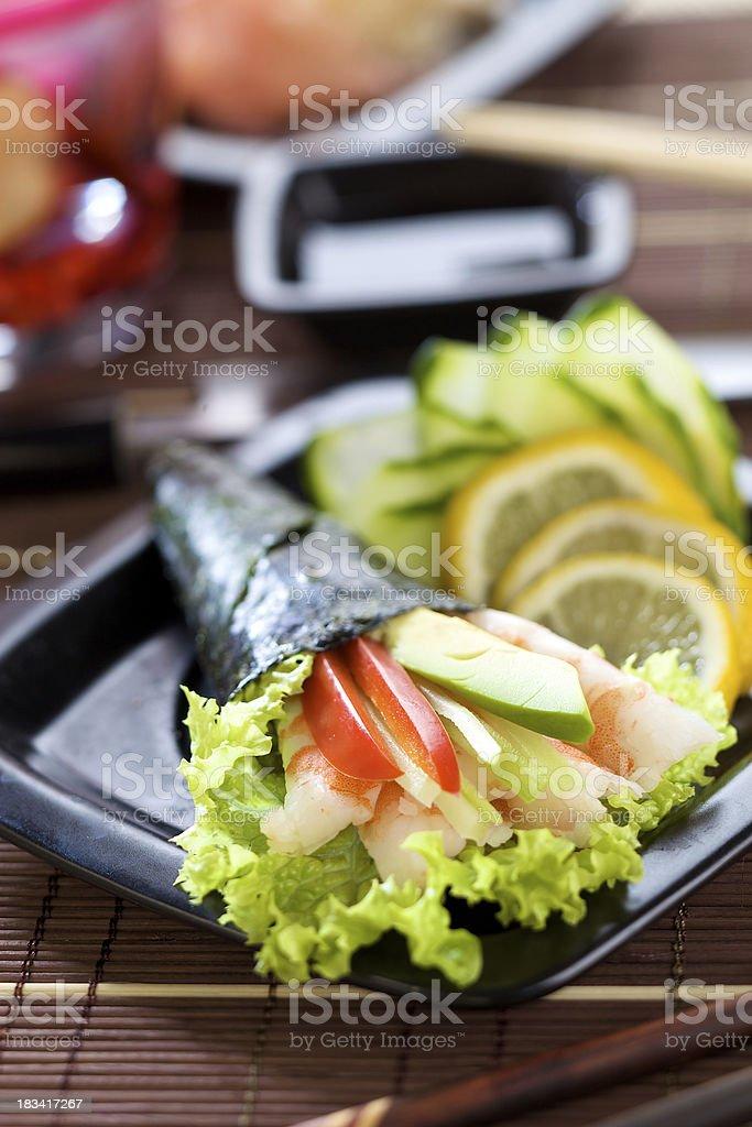 Sushi corn stock photo