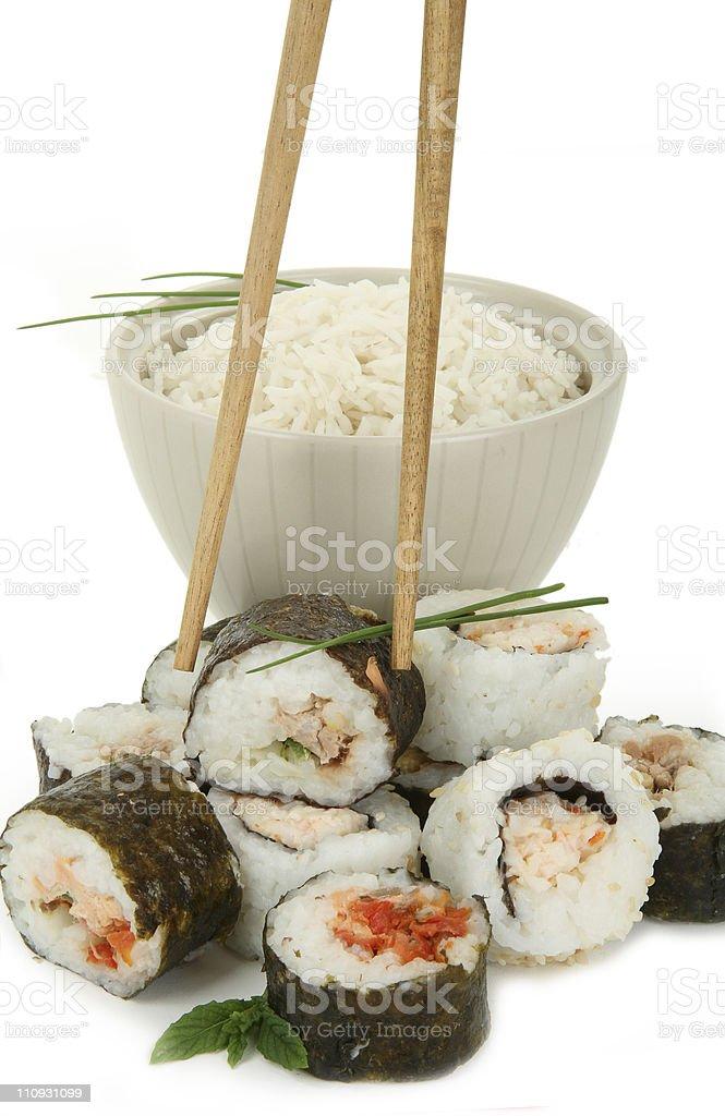 sushi et bol de riz royalty-free stock photo