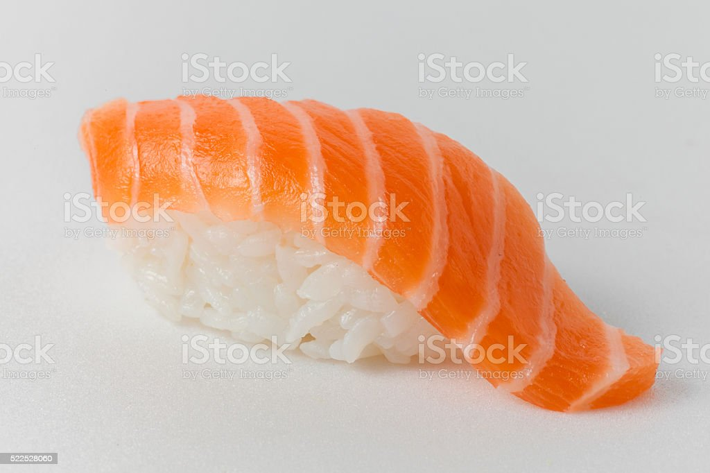sushi from rice and salmon on a white background stock photo