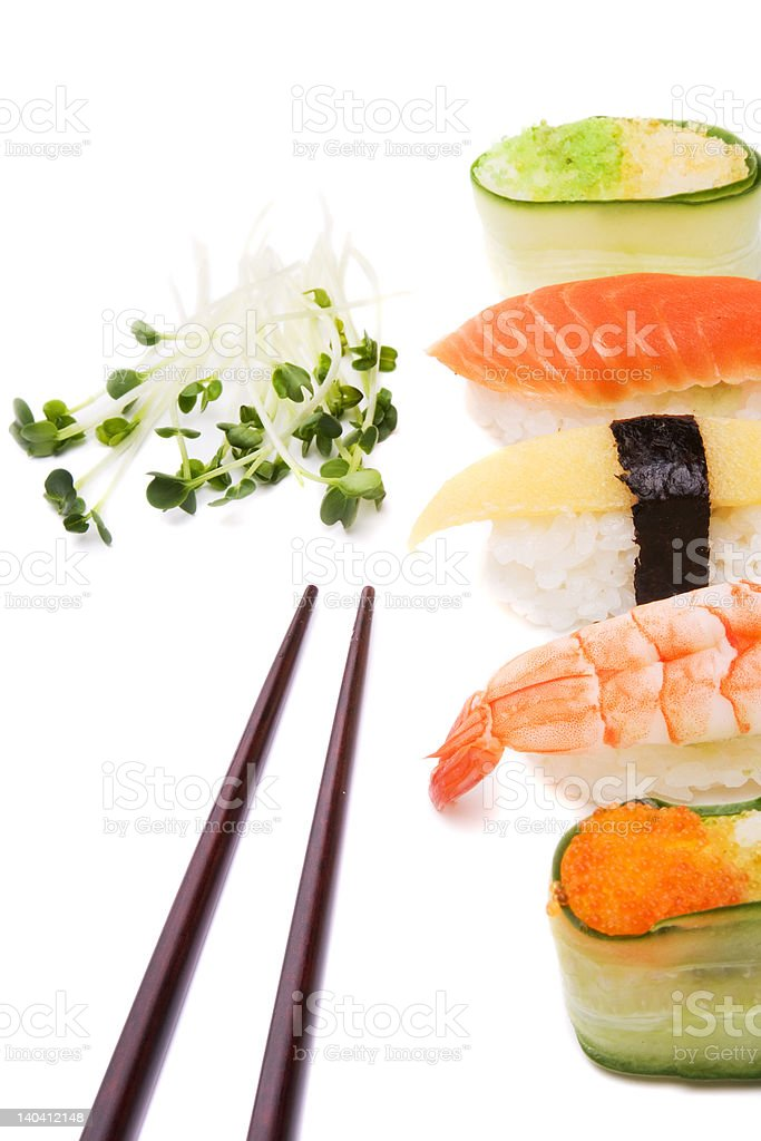 Sushi, green and chopsticks royalty-free stock photo
