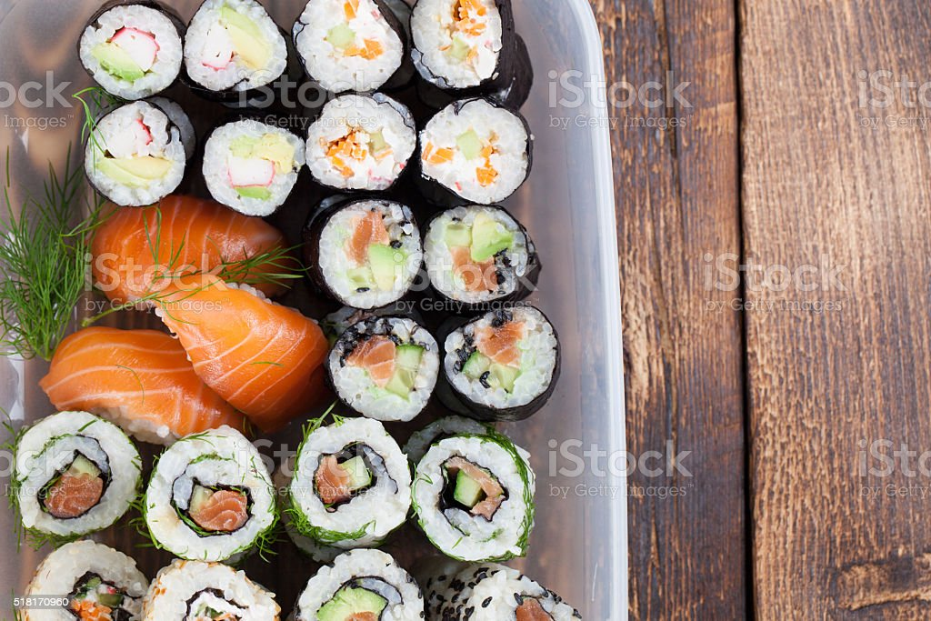 Sushi in a plastic box stock photo