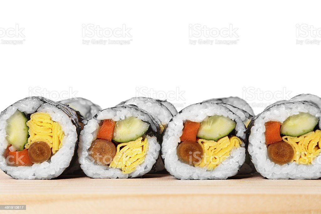 Sushi in a row stock photo