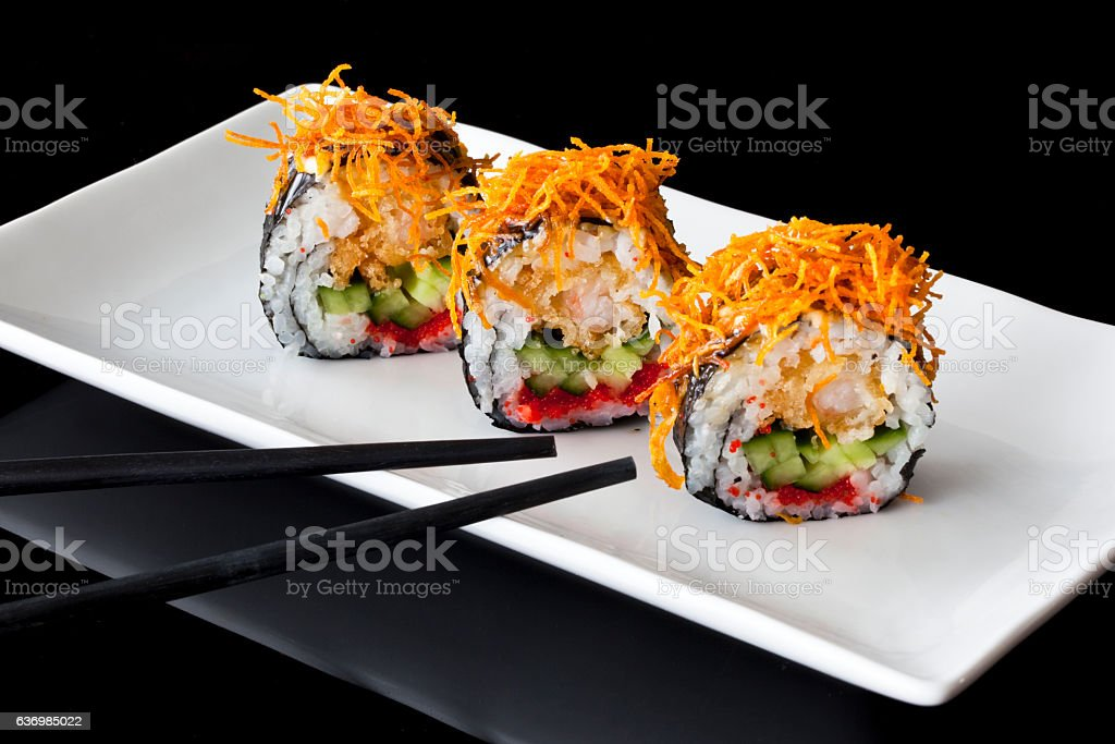Sushi in a white plate stock photo