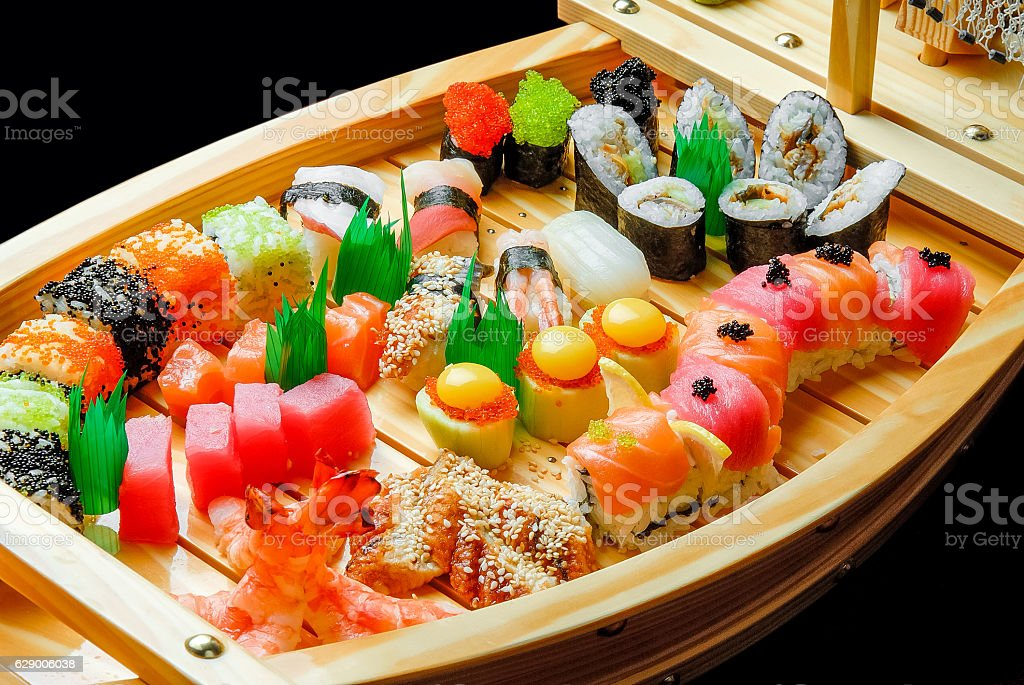 sushi, Japanese cuisine with fresh seafood stock photo
