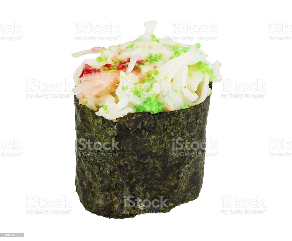 sushi kani with sauced slices of crab shrimp isolated royalty-free stock photo