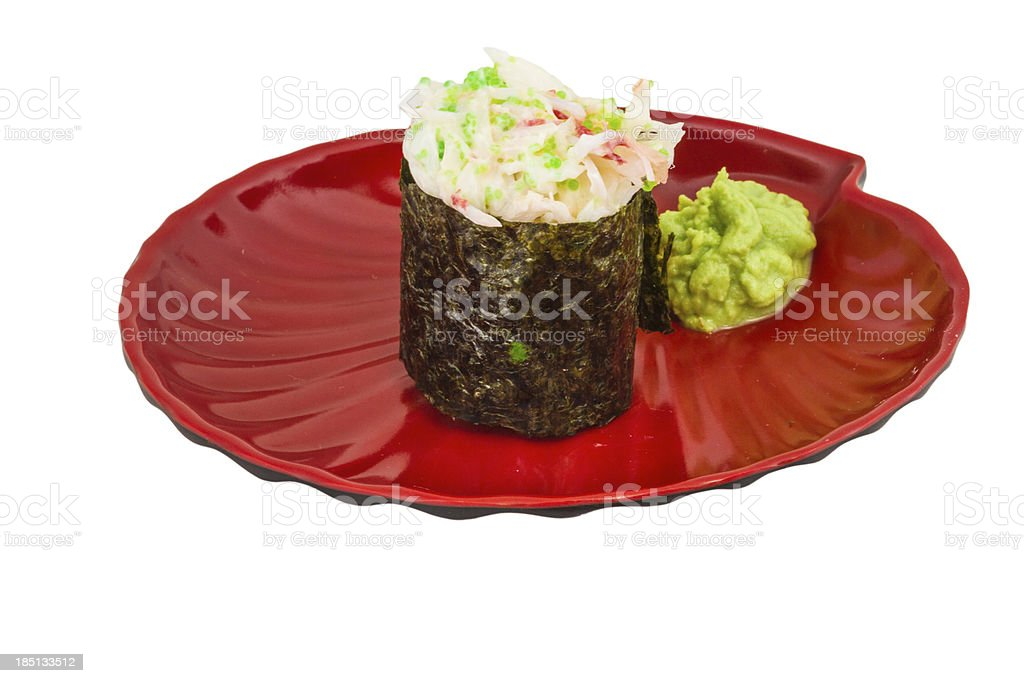 sushi kani with sauced slices of crab shrimp royalty-free stock photo