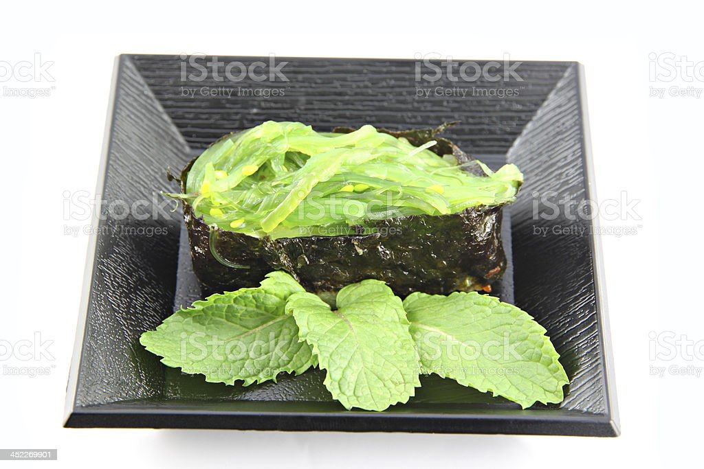 Sushi made from nori on dish. royalty-free stock photo