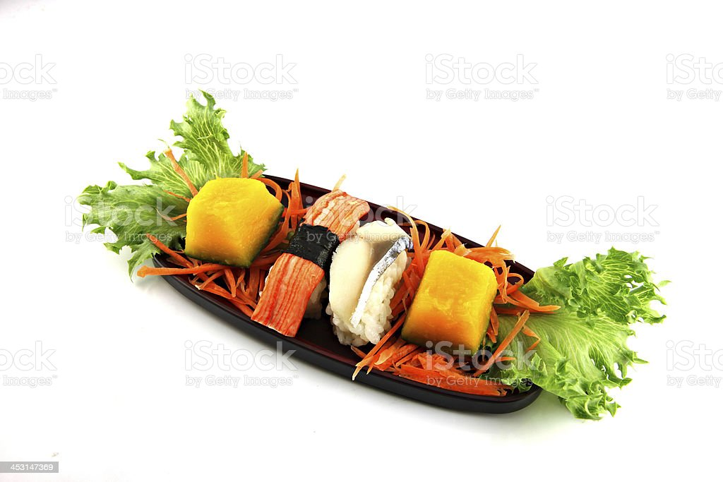 Sushi made from seafood on a bamboo dish. royalty-free stock photo