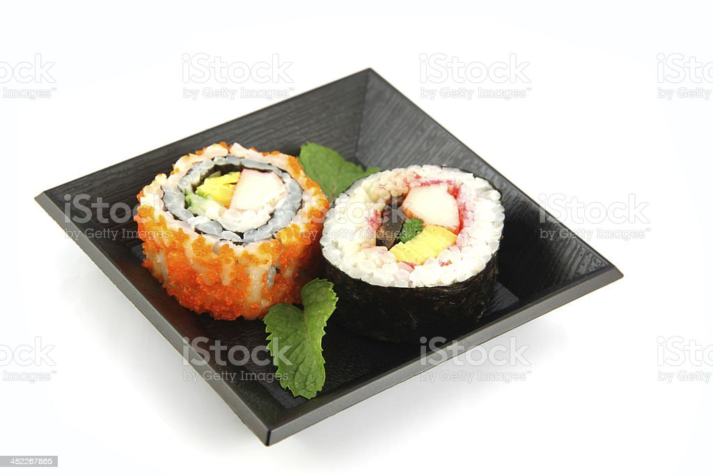 Sushi made from seafood on a white background. royalty-free stock photo