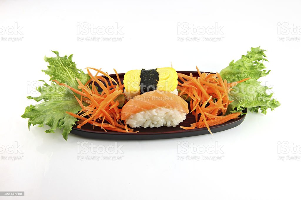 Sushi made from seafood on dish. royalty-free stock photo