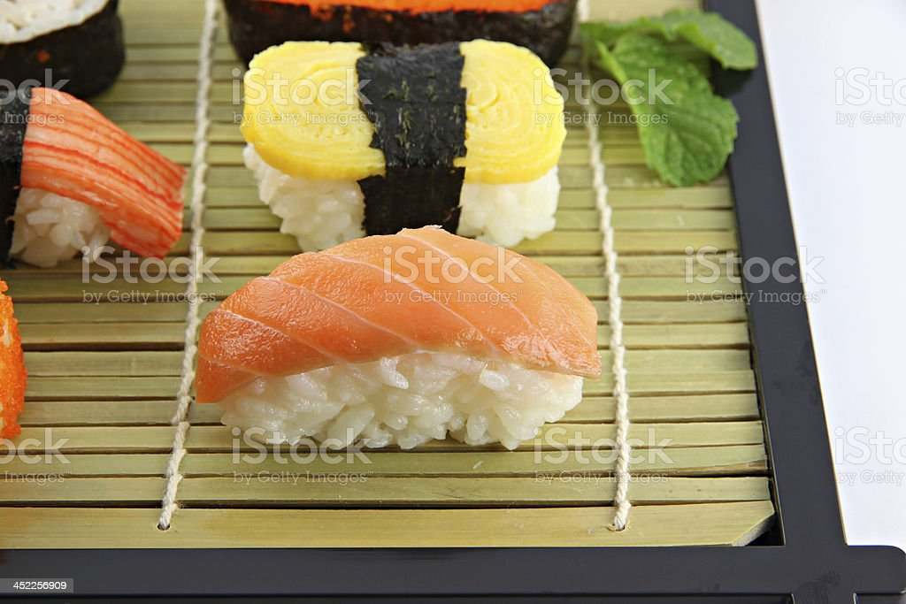 Sushi made from Tuna fish on a bamboo dish. royalty-free stock photo