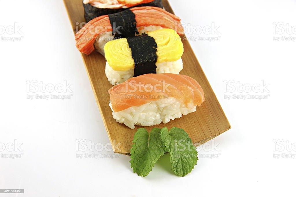 Sushi made from Tuna fish on a bamboo dish. royalty-free stock photo