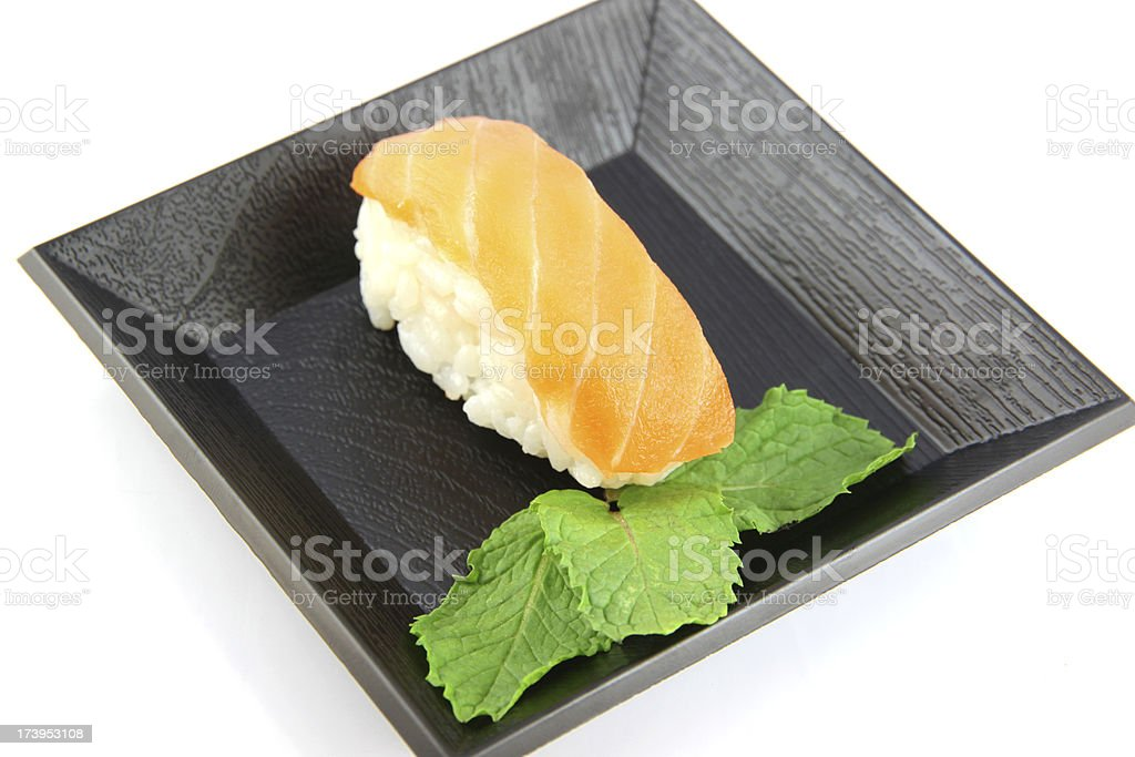 Sushi made from Tuna Fishs on the dish. royalty-free stock photo