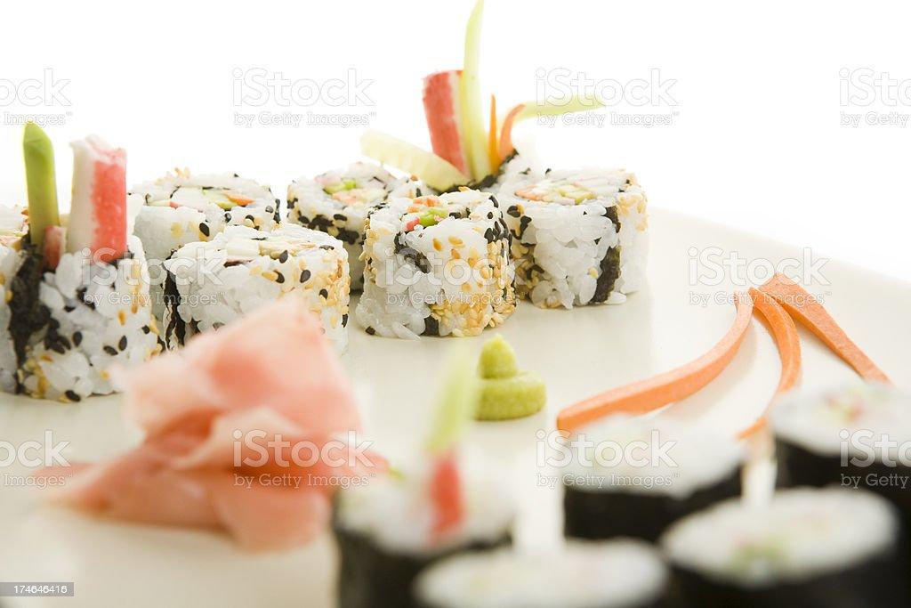 sushi maki on white background royalty-free stock photo