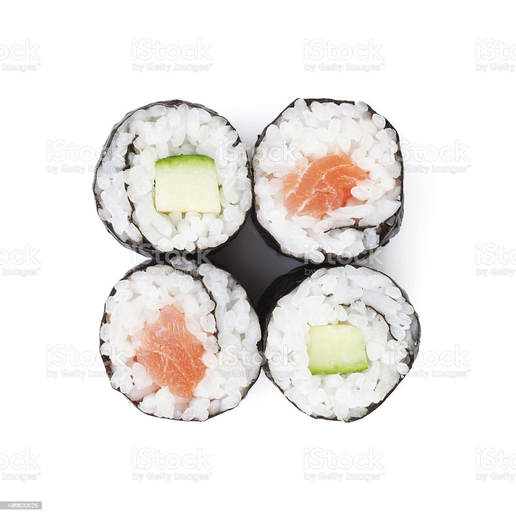 Sushi maki with salmon and cucumber stock photo