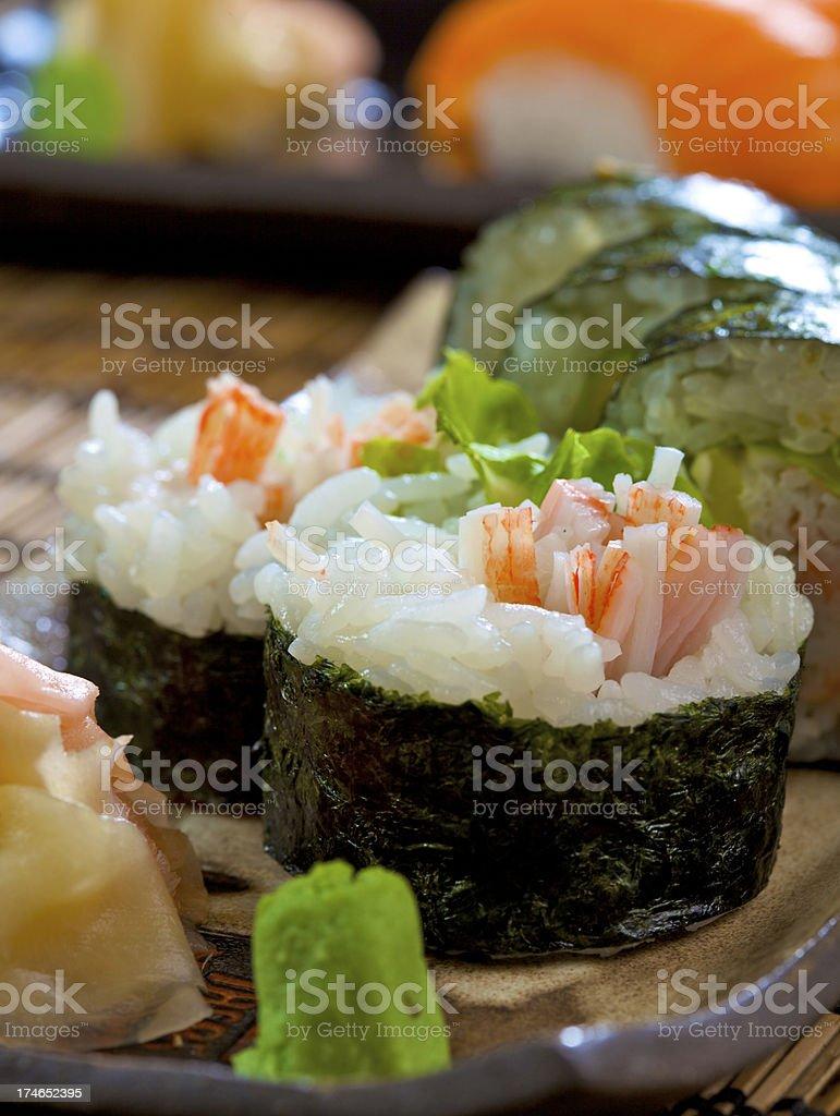 Sushi maki with surimi stock photo