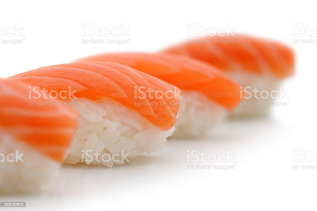 Sushi Nigiri Maki in a row stock photo