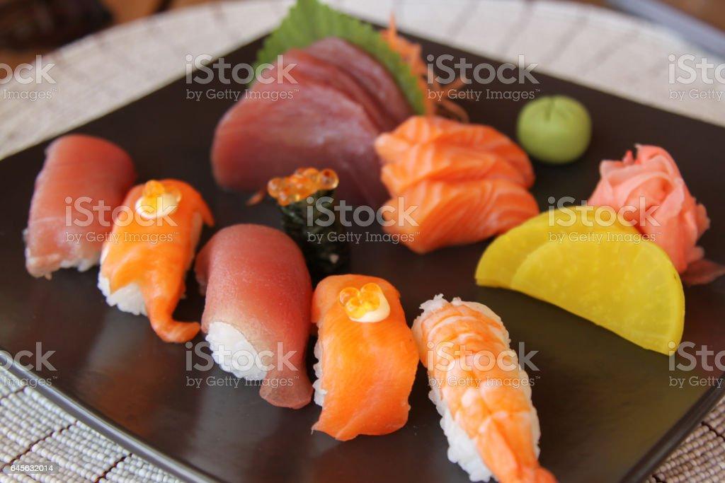 Sushi Nigiri on Black plate stock photo
