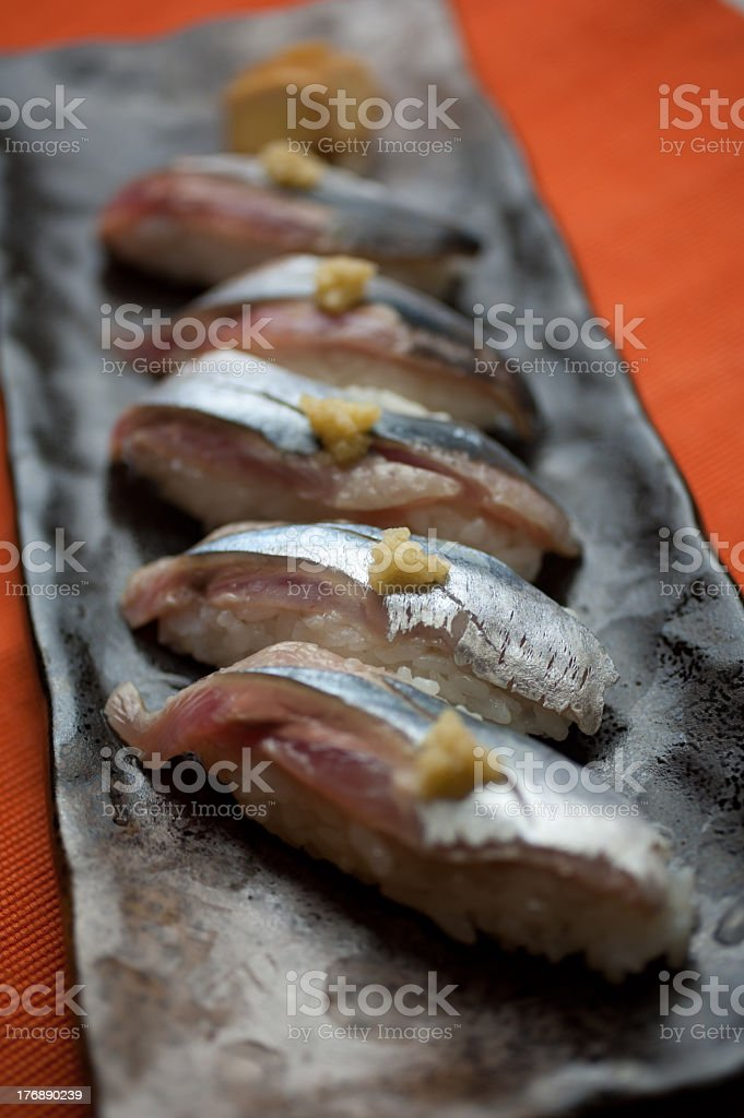 Sushi of a sanma (Pacific saury) royalty-free stock photo