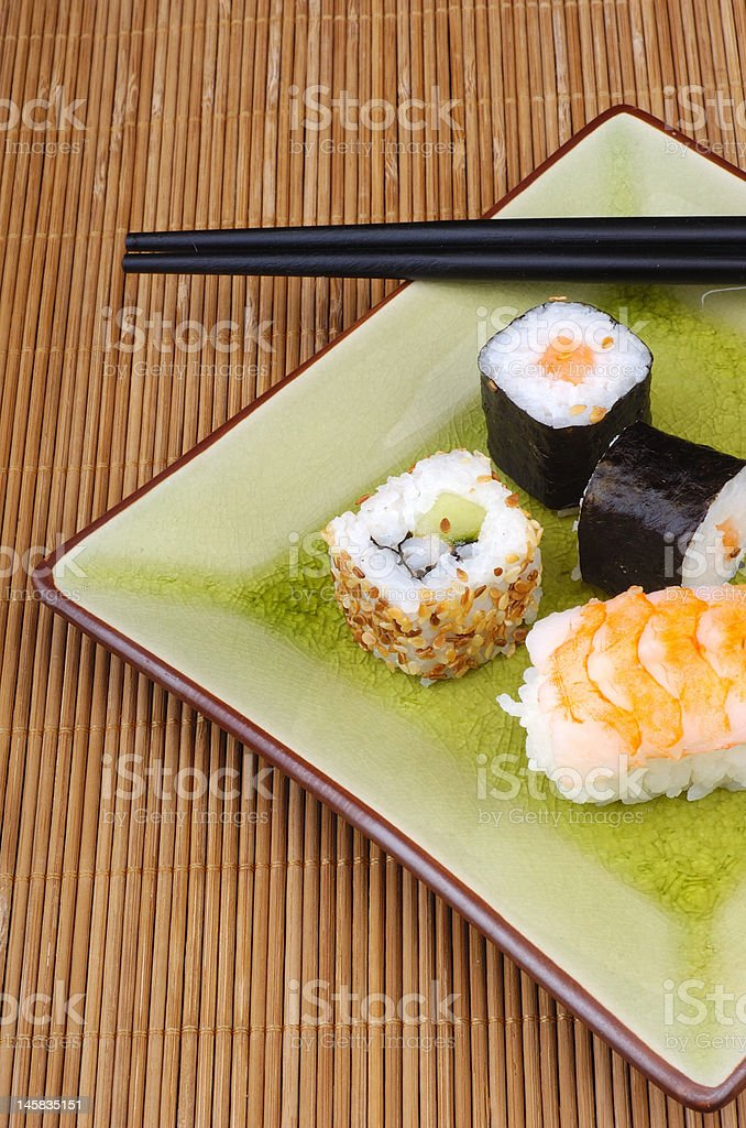 sushis on a plate stock photo