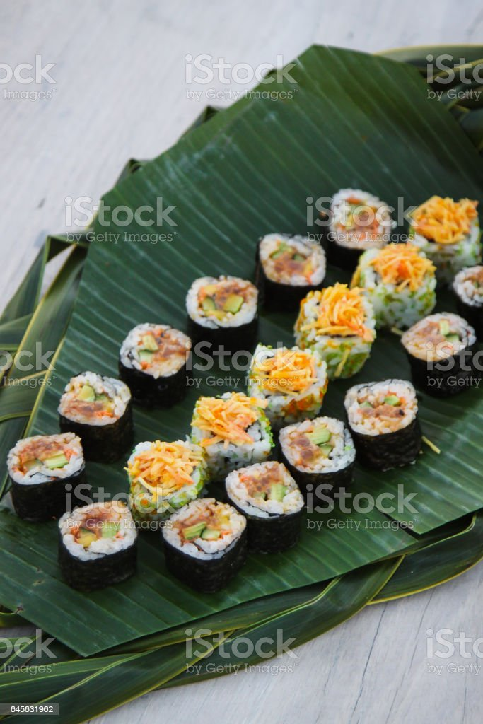 Sushi on Banana Leaf stock photo